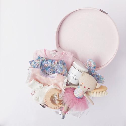 personalised baby girl hampers luxury baby items in pink keepsake box