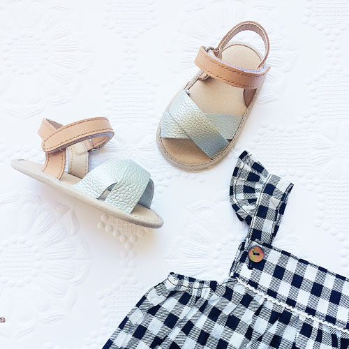 baby girl sandals in tan and silver perfect first walking shoes with soft soles